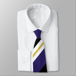 Black Purple and Gold Broad Regimental Stripe Neck Tie