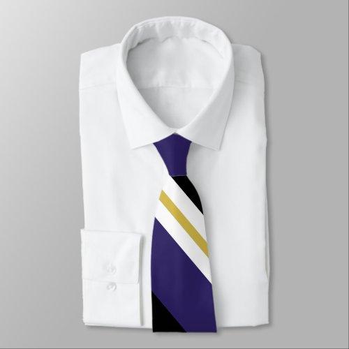 Black Purple and Gold Broad University Stripe Tie