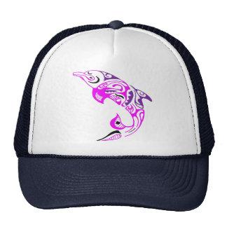 Black Purple and Pink Tribal Dolphin Tattoo Design Trucker Hat