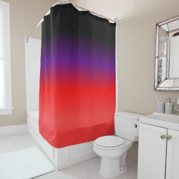 Beach Themed Black, Purple and Red Gradient Shower Curtain