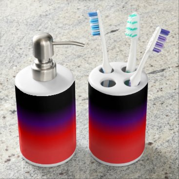 Beach Themed Black, Purple and Red Gradient Soap Dispenser & Toothbrush Holder
