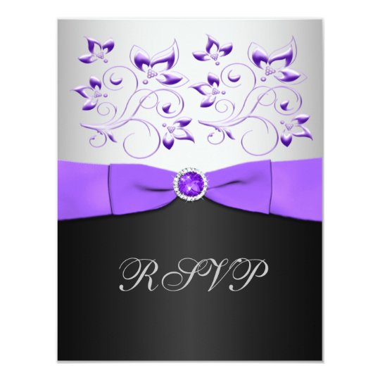 Black, Purple, and Silver Floral RSVP Card