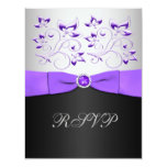 """Black, Purple, and Silver Floral RSVP Card 4.25"""" X 5.5"""" Invitation Card"""
