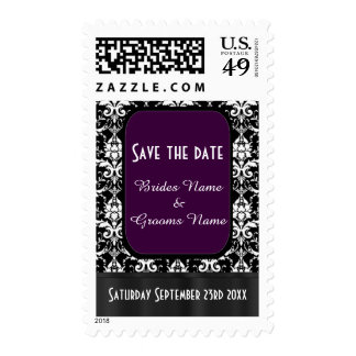 Black, purple and white damask save the date postage stamps