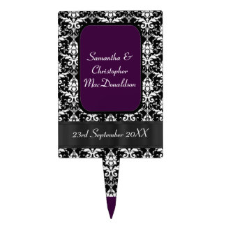 Black, purple and white damask wedding cake topper