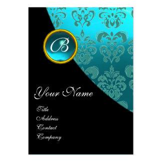 BLACK PURPLE BLUE BICYCLE WEDDING DAMASK MONOGRAM LARGE BUSINESS CARD