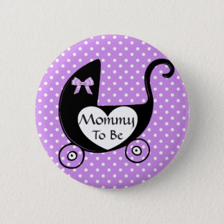 Black & Purple Bow Mommy to be Baby Shower Button