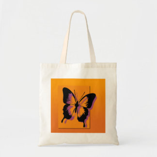Black Purple Butterfly Tote Bag