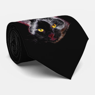 Black Purple Cat Drawing With Yellow Eyes Tie