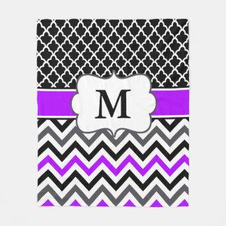 Black Purple Chevron Monogram Blanket