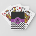 "Black Purple Chevron Playing Cards<br><div class=""desc"">Black purple chevron deck of playing cards</div>"