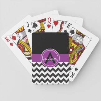 Black Purple Chevron Playing Cards