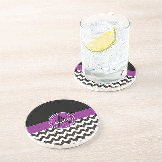 Black Purple Chevron Sandstone Coaster