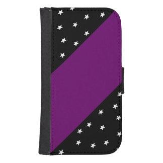 Black&Purple con las estrellas y la caja del Billeteras Para Teléfono
