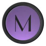 Black purple custom monogram poker chips