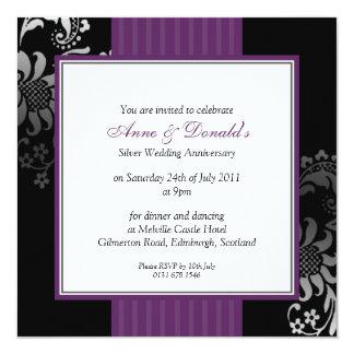 Black & Purple Damask Anniversary Party Card