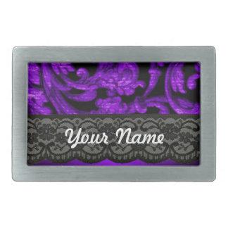 Black purple damask rectangular belt buckles