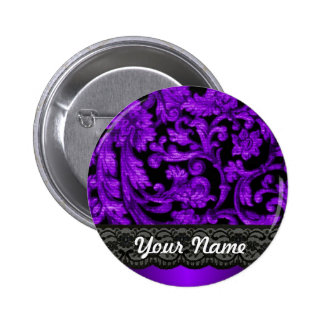 Black purple damask pin