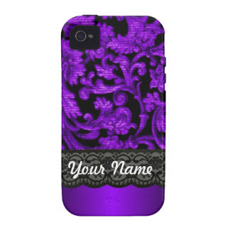 Black & purple damask iPhone 4 case