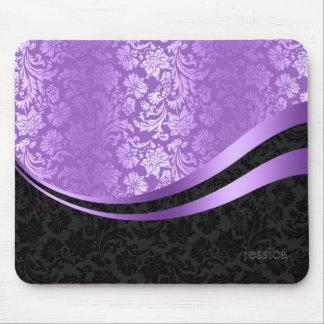 Black & purple damask dynamic stripes mouse pad
