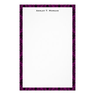 Black / Purple Damask Framed Personalized Stationery