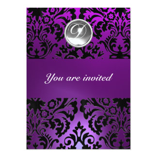 BLACK & PURPLE DAMASK GEM STONE MONOGRAM  ice Card