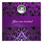 BLACK & PURPLE DAMASK GEM STONE MONOGRAM  ice 5.25x5.25 Square Paper Invitation Card