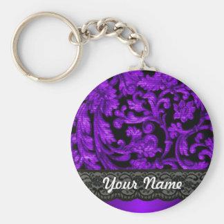 Black purple damask keychain