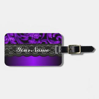 Black purple damask travel bag tag