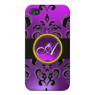 BLACK PURPLE DAMASK MONOGRAM,Amethyst iPhone 4 Case