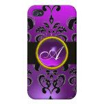 BLACK PURPLE DAMASK MONOGRAM,Amethyst iPhone 4/4S Covers