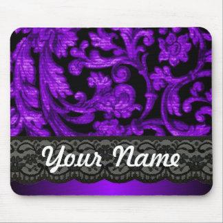 Black & purple damask mouse pad