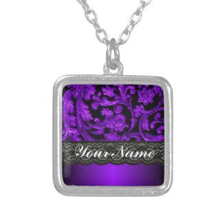 Black purple damask custom necklace