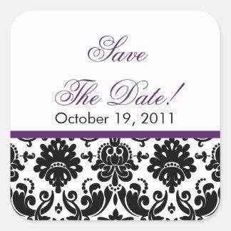 Black & Purple Damask Save the Date Wedding Seal Square Sticker