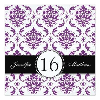 Black Purple Damask Sweet Sixteen Invitations