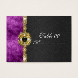 black purple damask table placement guests business card