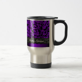 Black & purple damask travel mug