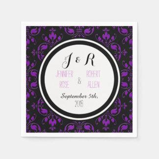 Black Purple Damask Wedding Napkins