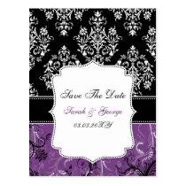 Black Purple damask wedding Postcard
