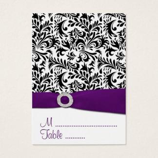 Black, Purple Damask Wedding Reception Place Cards