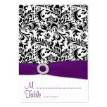 Black, Purple Damask Wedding Reception Place Cards Business Card