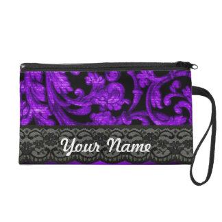 Black & purple damask wristlet purse