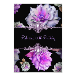 Black Purple Floral Birthday Party Pearl Image 3.5x5 Paper Invitation Card