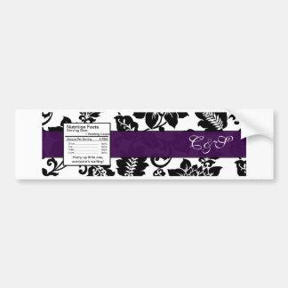 Black/Purple Floral Damask Wedding Bottle Label Bumper Sticker