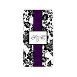 Black/Purple Floral Damask Wedding Candy Wrapper Label
