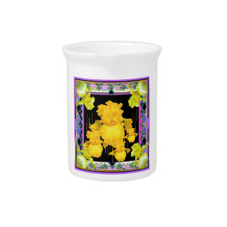 Black-Purple-Gold Iris Garden  Pattern Gifts Drink Pitcher