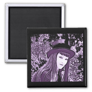 Black & Purple Gothic Girl 2 Inch Square Magnet