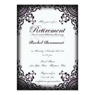 Black Purple Gothic Scroll Retirement Invitation