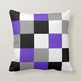 Black, purple, gray and white checkered  Pillow