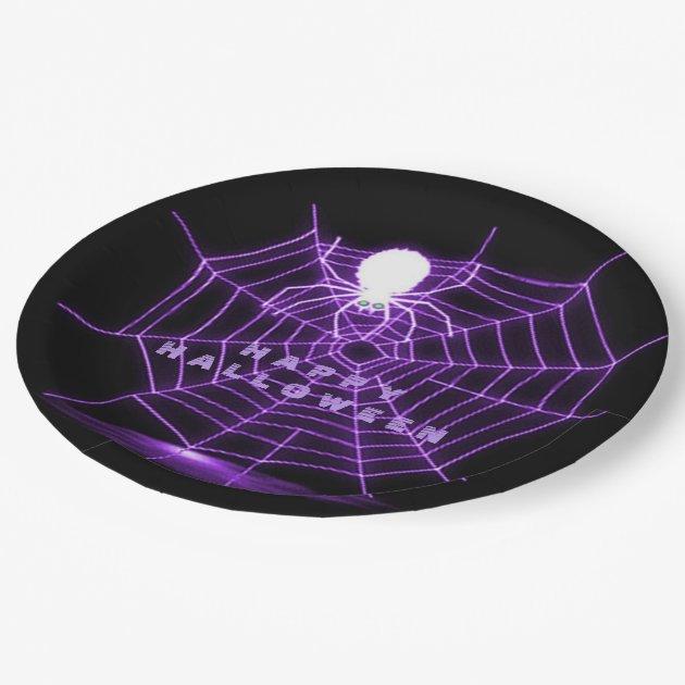 black purple spider web paper plates zazzle